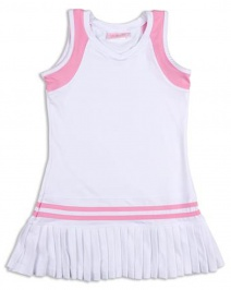 Girls white tennis dress with pink trim