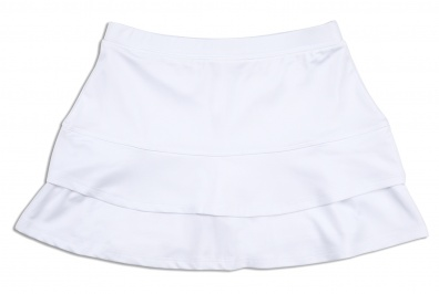 Girls white ruffle tennis skort