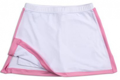 Girls white tennis skort with pink trim