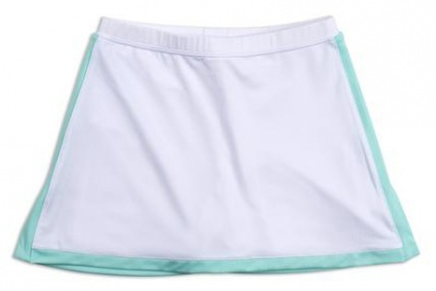 Girls white tennis skort with ocean blue trim