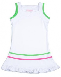 Girls white tennis dress with pink and green trim