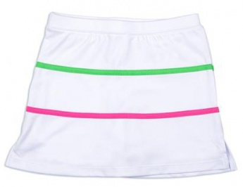 Girls white tennis skort with pink and green trim