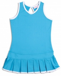 Girls Twilight Blue pleated tennis dress with white trim