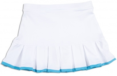 Girls white pleated tennis skort with twilight blue trim