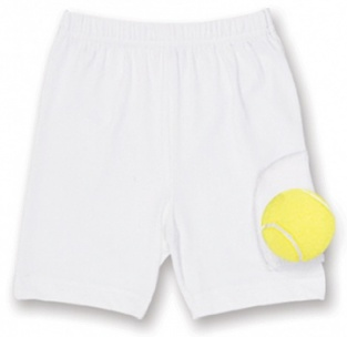 Girls white tennis shorts with ball pocket