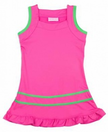 Girls pink dress with green trim