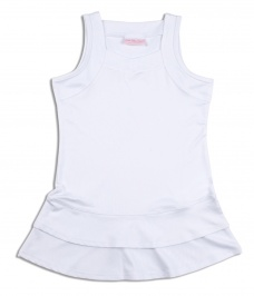 Girls white tennis dress with ruffle trim