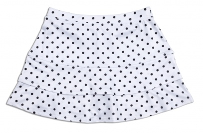 Girls white polka dot tennis skort