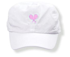 Girls white tennis  hat with pink rackets logo