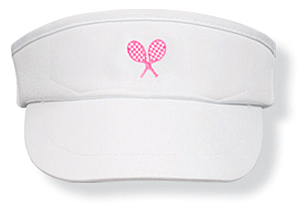 Girls white tennis  visor with pink rackets logo