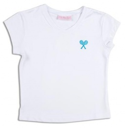 Girls white tennis T-shirt with ocean blue rackets logo