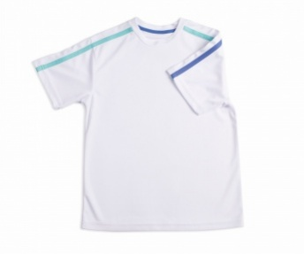 Boys white crew with blue and aqua stripe