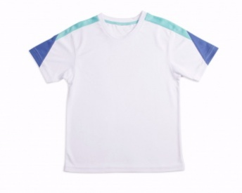 Boys white crew with aqua and aqua trim