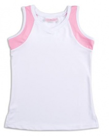 Girls white tennis vest with pink trim