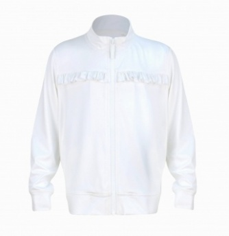 Girls white tennis jacket with ruffle trim