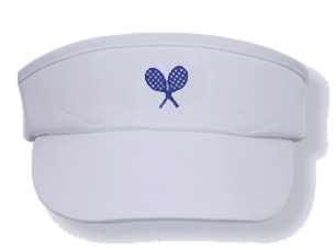 Girls white tennis visor with navy rackets logo