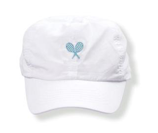 Girls white tennis  hat with ocean rackets logo