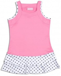 Girls pink tennis dress with polka dot trim