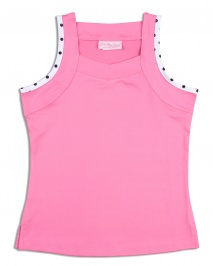 Girls pink tennis top with polka dot trim