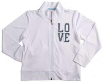 Girls white tennis jacket LOVE (sequins)