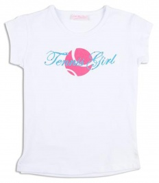 Girls white t-shirt with TENNIS GIRL logo