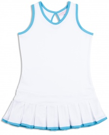 Girls white pleated tennis dress with Twilight Blue trim