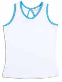 Girls white tennis vest with Twilight Blue trim