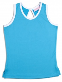 Girls twilight blue tennis vest with white trim