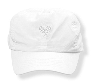 Girls white tennis  hat with white rackets logo