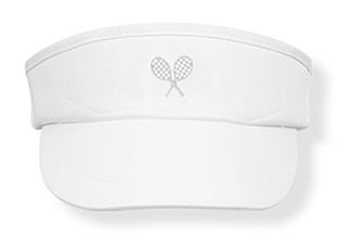 Girls white tennis  visor with white rackets logo